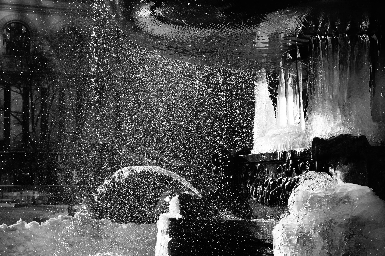 frozen fountain - Bryant Park